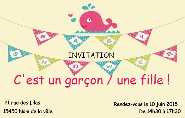 Modele Invitation Carte Baby Shower Anniversaire A Personnaliser Soi Meme Partir Dun En Ligne Au Format 85 X 54cm Ideal Pour Mamans Baleine