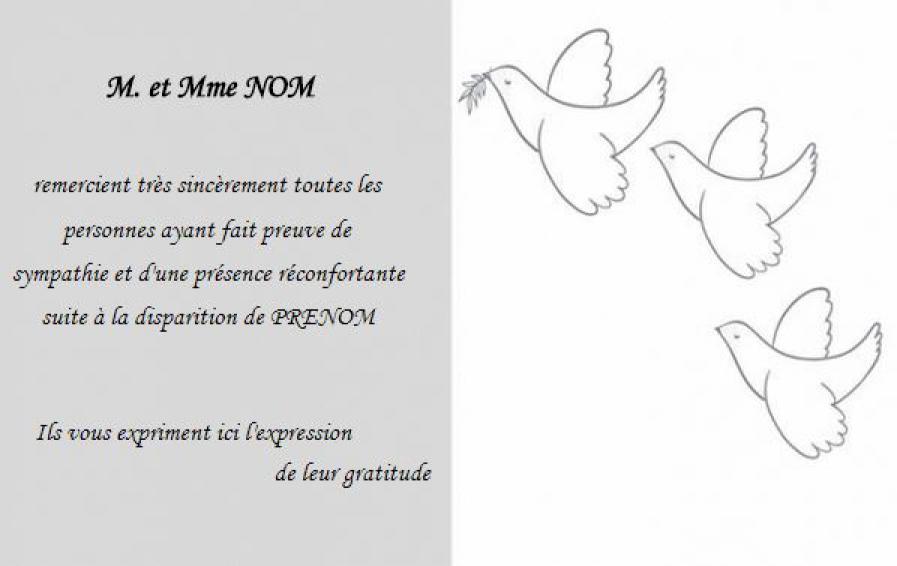 Carte de remerciement d c s pas ch re mod le gratuit colombes - Carte de visite gratuite sans frais de port ...