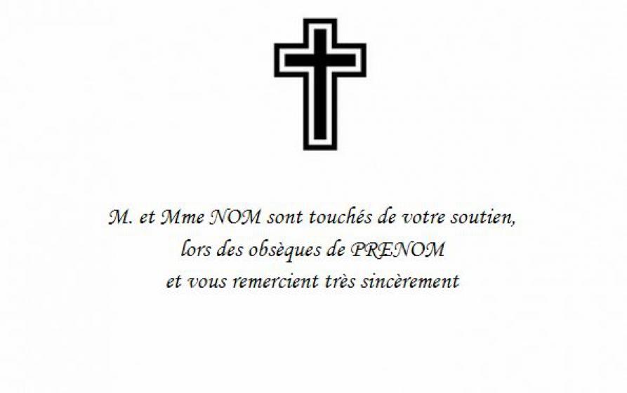 Beliebt Modèle Carte de Remerciement Deuil avec texte à personnaliser  VW57
