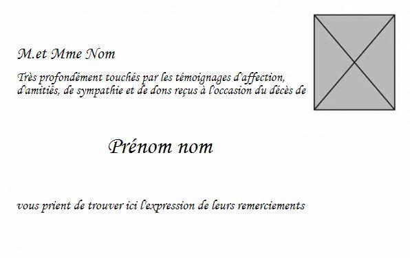 Turbo Carte de Remerciement Décès, Modèle à personnaliser, avec photo NO14