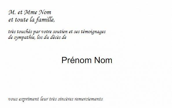 Préférence Carte de Remerciement Décès Deuil, Modèle à personnaliser, classique. TG44