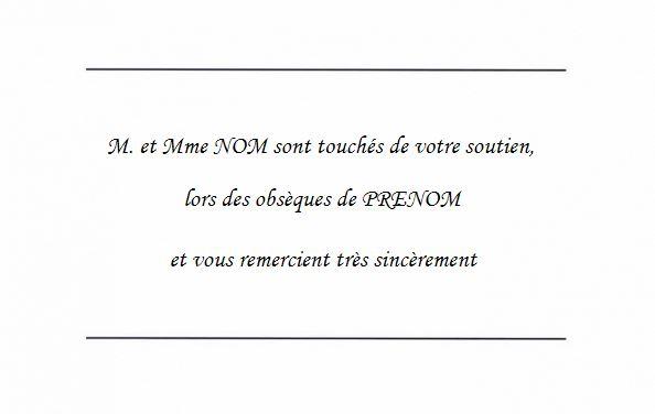 Beliebt Carte de Remerciement Décès avec Texte simple Fond vierge à imprimer VW57