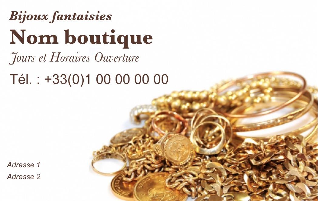 Modele Gratuit Carte De Visite Bijouterie Ideal Commerce Vente Bijoux Et Accessoires Mode A Imprimer Personnaliser En