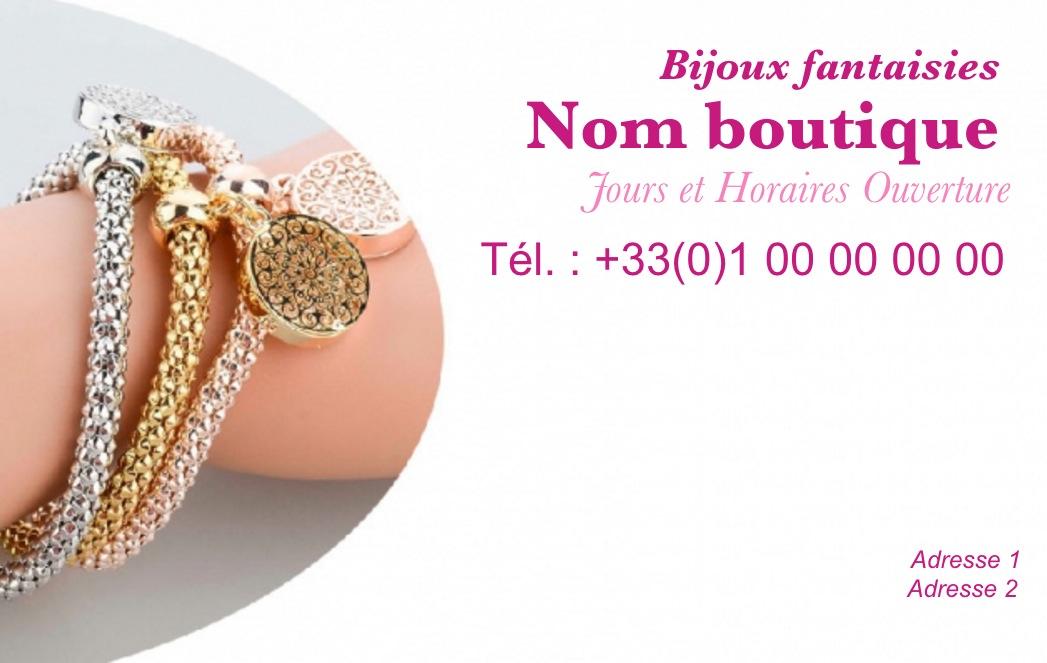 Modele Gratuit Carte De Visite Bijouterie Ideal Commerce Vente Bijoux Et Accessoires Mode Avec Fond Bracelet