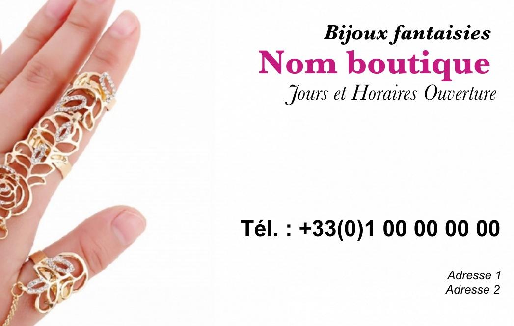 Modele Gratuit Carte De Visite Bijoux Ideal Commerce Vente Et Accessoires Mode A Imprimer Personnaliser En