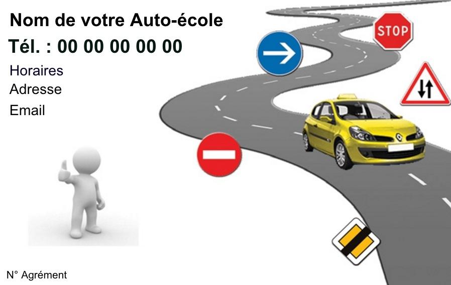 Modele Auto Ecole Exemple Carte De Visite Pas Cher A Personnaliser En Ligne Gratuitement Imprimer Chez Soi Circulation Route