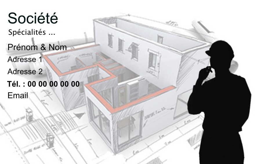 carte de visite b timent construction mod le gratuit plan extrud. Black Bedroom Furniture Sets. Home Design Ideas