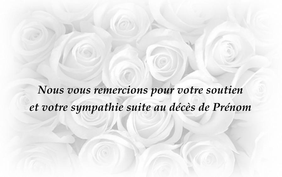 Carte de remerciement d c s pas ch re rose blanche - Echantillons gratuits a recevoir sans frais de port ...