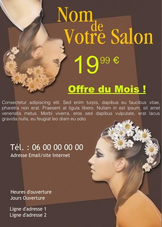 Mod le flyer coiffure personnaliser gratuit exemple for Exemple de stand pour salon