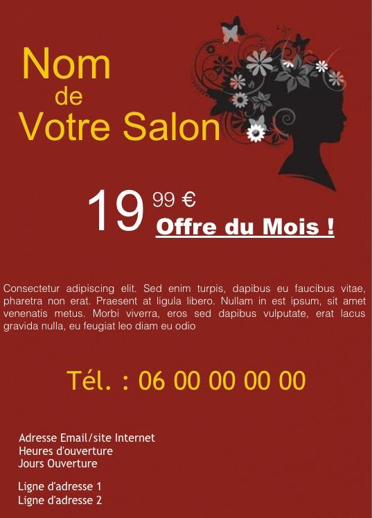 Très Salon Coiffeur, Coiffeuse, Exemple de flyer format A5 gratuit à  KM61