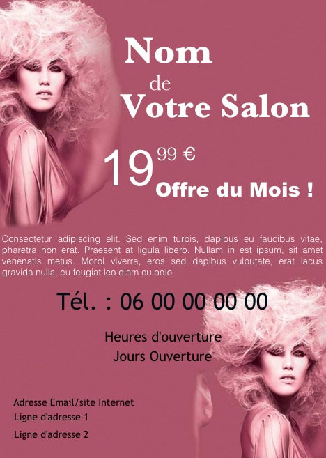 Populaire Salon Coiffeur, Coiffeuse, Exemple de flyer format A5 gratuit à  UK44