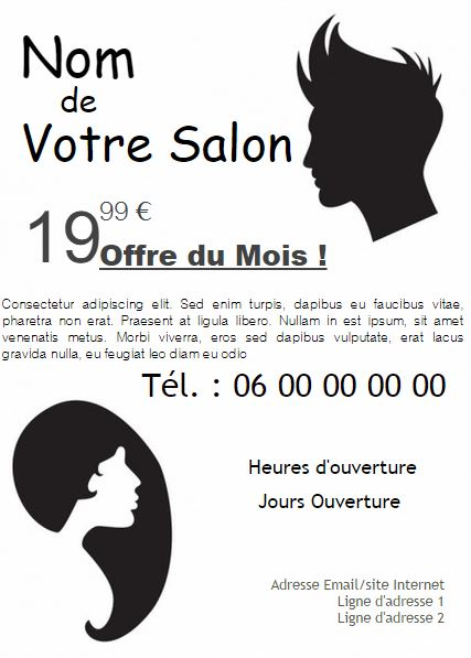Salon coiffeur coiffeuse exemple de flyer format a5 for Salon de coiffure noir et blanc
