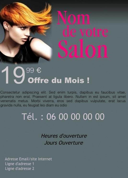 Souvent Salon Coiffeur, Coiffeuse, Exemple de flyer format A5 gratuit à  KY12