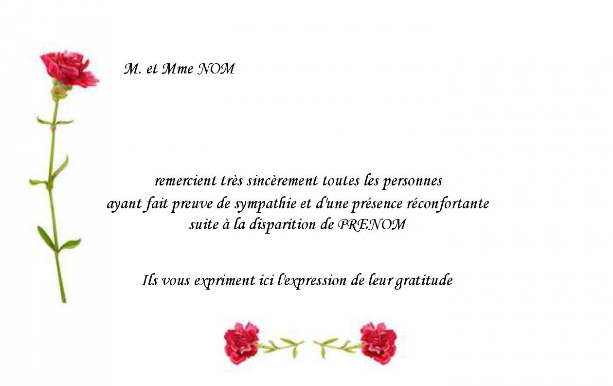 Modele Carte De Remerciement Deces Gratuit Modele Fleur