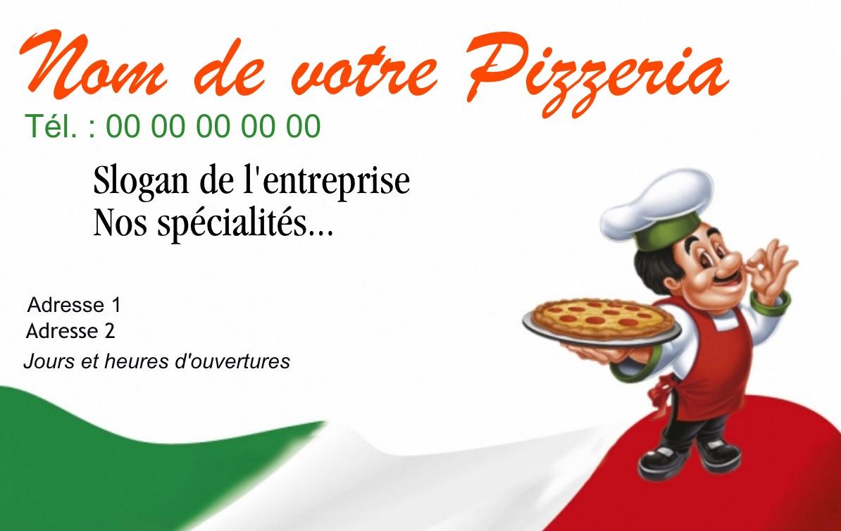 Exemple Carte De Visite Pizzeria Pour Service Restauration Cuisinier Livraison Pizza Domicile Modle Gratuit Personnaliser En