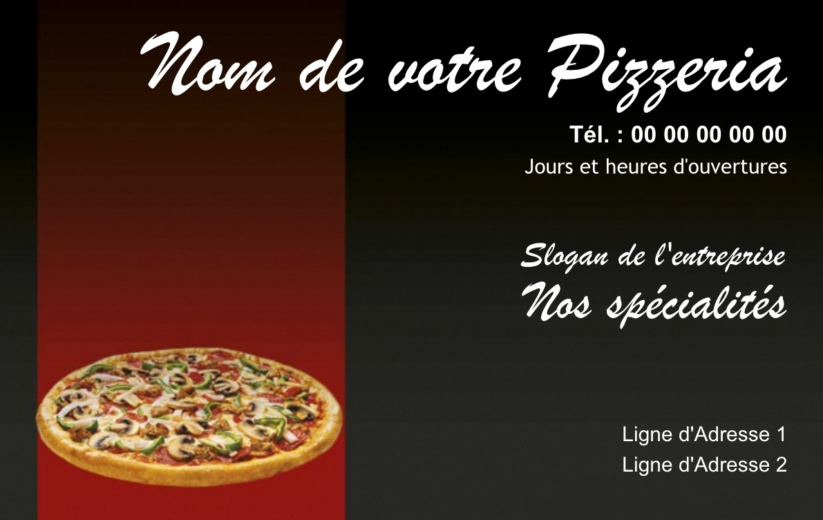 Exemple Carte De Visite Pizzeria Pour Service Restauration Cuisinier Livraison Pizza A Domicile Modele Gratuit Personnaliser En Ligne Fond