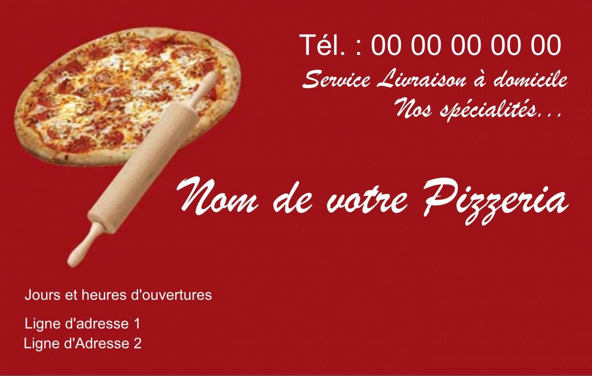 Exemple Carte De Visite Pizzeria Pour Service Restauration Cuisinier Livraison Pizza A Domicile Modele Gratuit Personnaliser En Ligne