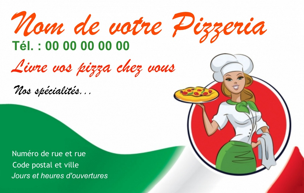 Exemple Carte De Visite Pizzeria Pour Service Restauration Cuisinier Livraison Pizza Domicile Modle Gratuit Personnaliser En Ligne