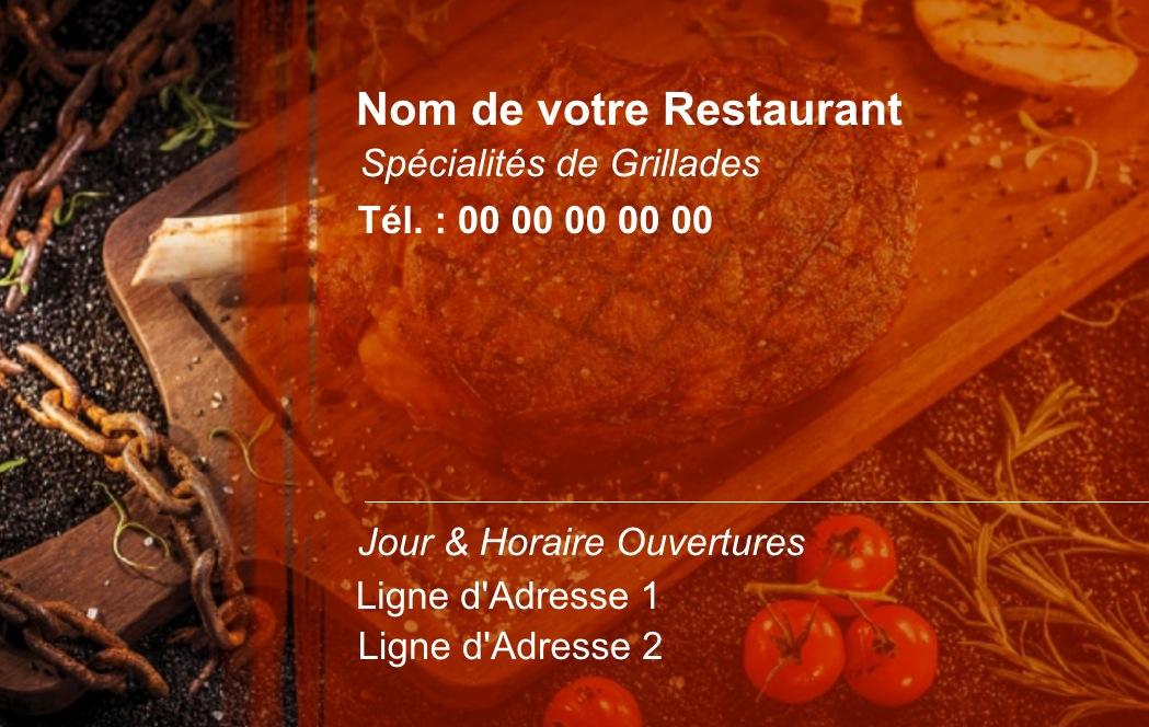 Modle Gratuit Carte De Visite Restaurant Idal Restauration Cuisine Domicile Service Traiteuravec Fond Grillade Cuisinier Auto Entrepreneur