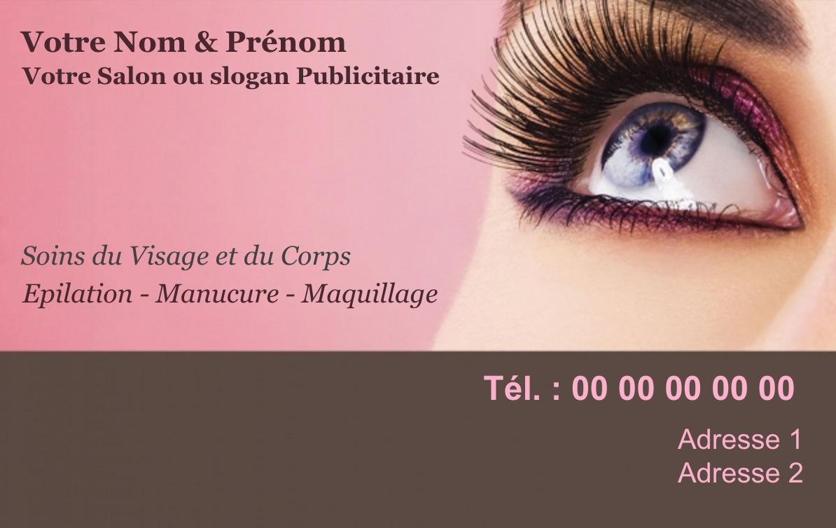 Exemple Et Modele De Carte Visite Salon Beaute SPA A Personnaliser En Choisissant Un Gratuit Fond Maquillage