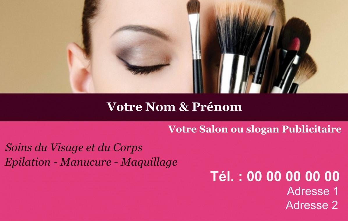 Exemple Et Modele De Carte Visite Salon Beaute SPA A Personnaliser En Choisissant Un Gratuit Fond Rose