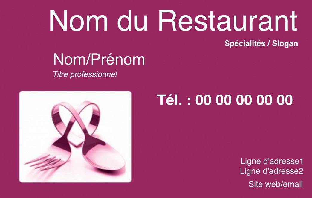 Exemple Carte De Visite Traiteur Pour Mtier La Restauration En Restaurant Ou Domicile Cuisinier Modle Gratuit Personnaliser Ligne Fond Prune
