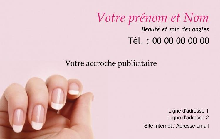 Institut De Beaute Manucure Pedicure Onglerie Styliste Ongulaire Modele Gratuit Carte Visite Soin A Imprimer Ou Personnaliser Chez Soi