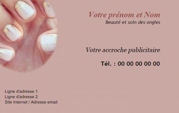 Carte De Visite Professionnelle A Personnaliser Gratuitement Et Imprimer Pas Cher Pour Professionnel Domaine Ongle Styliste Ongulaire Prothesiste