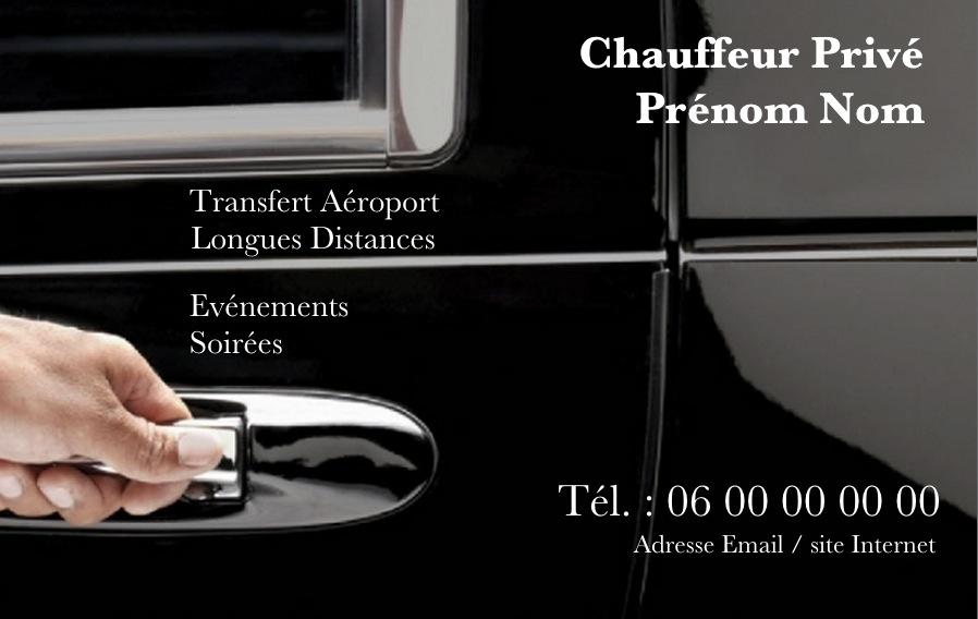 Carte De Visite Professionnelle Pour Chauffeur Taxi Ou VTC Affaire Modle Gratuit