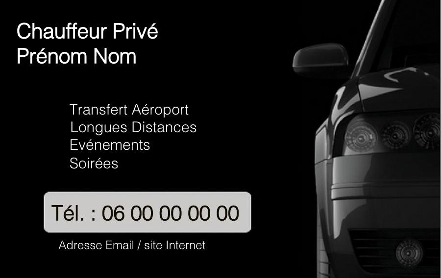 chauffeur priv u00e9  mod u00e8le gratuit carte de visite professionnelle