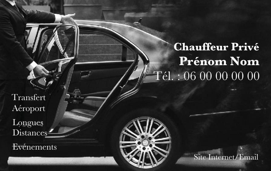 Carte De Visite Professionnelle Pour Chauffeur Priv Ou Taxi VTC Affaire Modle Gratuit