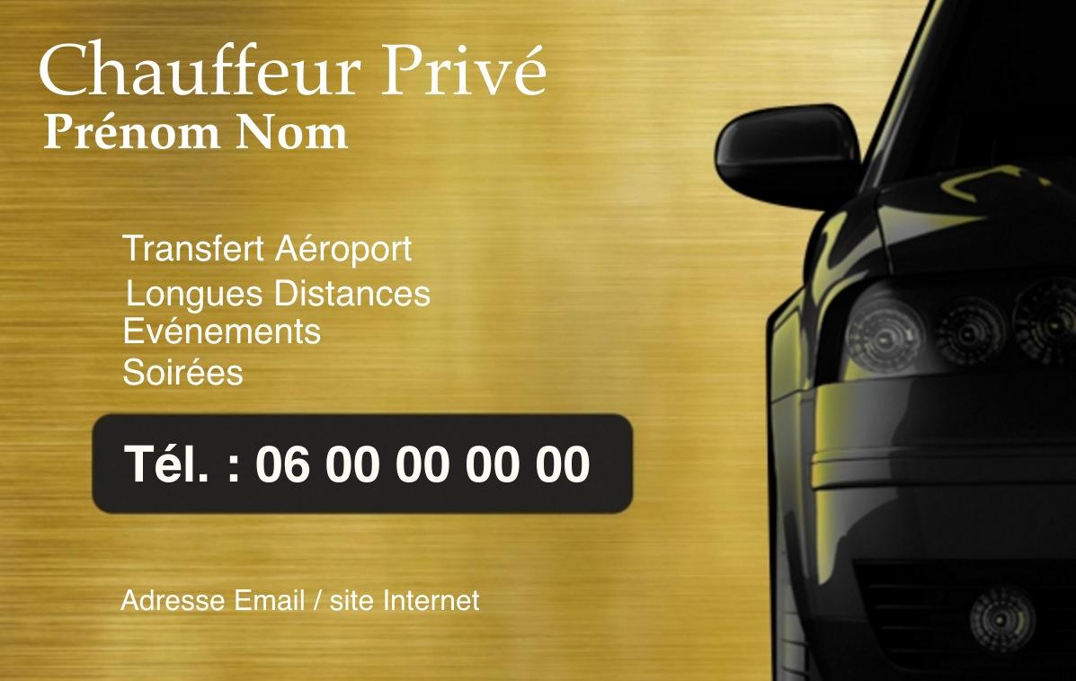 Exemple Carte De Visite Taxi VTC Pour Service Transport Chauffeur Prive Modele Gratuit A Personnaliser En Ligne Fond Effet Or