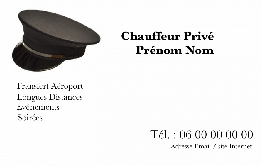 carte de visite chauffeur priv ou chauffeur de ma tre avec casquette. Black Bedroom Furniture Sets. Home Design Ideas