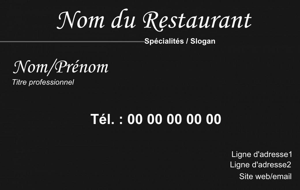 Exemple Carte De Visite Traiteur Pour Metier La Restauration En Restaurant Ou A Domicile Cuisinier Modele Gratuit Personnaliser Ligne Fond Noir