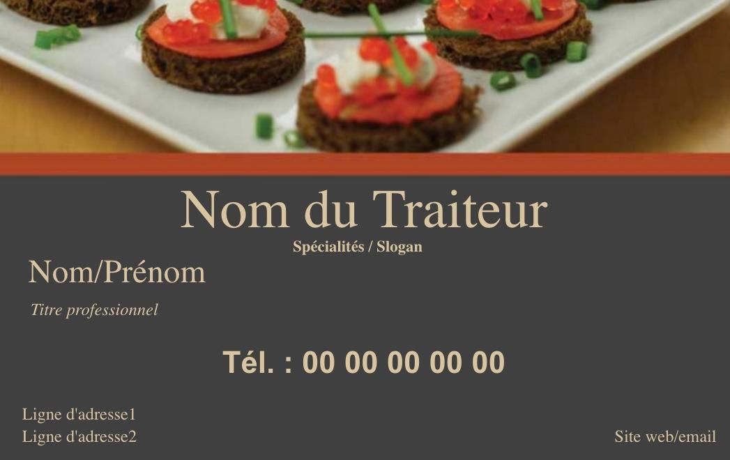 Exemple Carte De Visite Traiteur Pour Metier La Restauration En Restaurant Ou A Domicile Cuisinier Modele Gratuit Personnaliser Ligne Fond