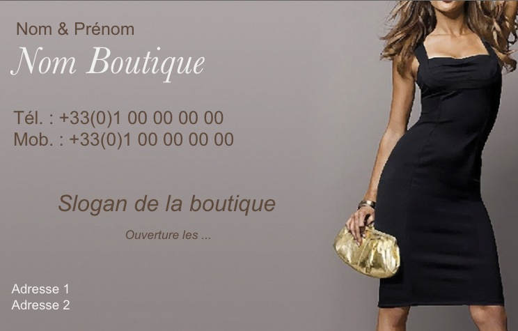 Vtement Pour Femme Modle Gratuit Carte De Visite Boutique Robe