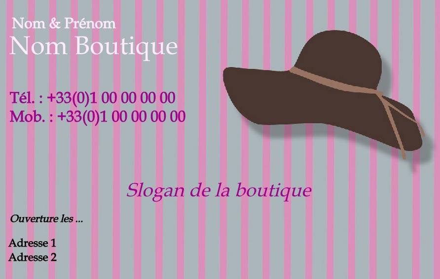 Chapeau Vtement Pour Femme Modle Gratuit Carte De Visite Boutique
