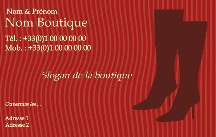 Botte Vetement Pour Femme Modele Gratuit Carte De Visite Boutique Chaussure