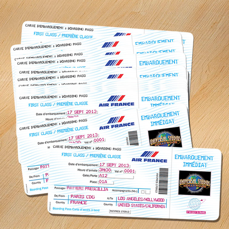 Faire-part en forme de Billet d'Avion Air-France