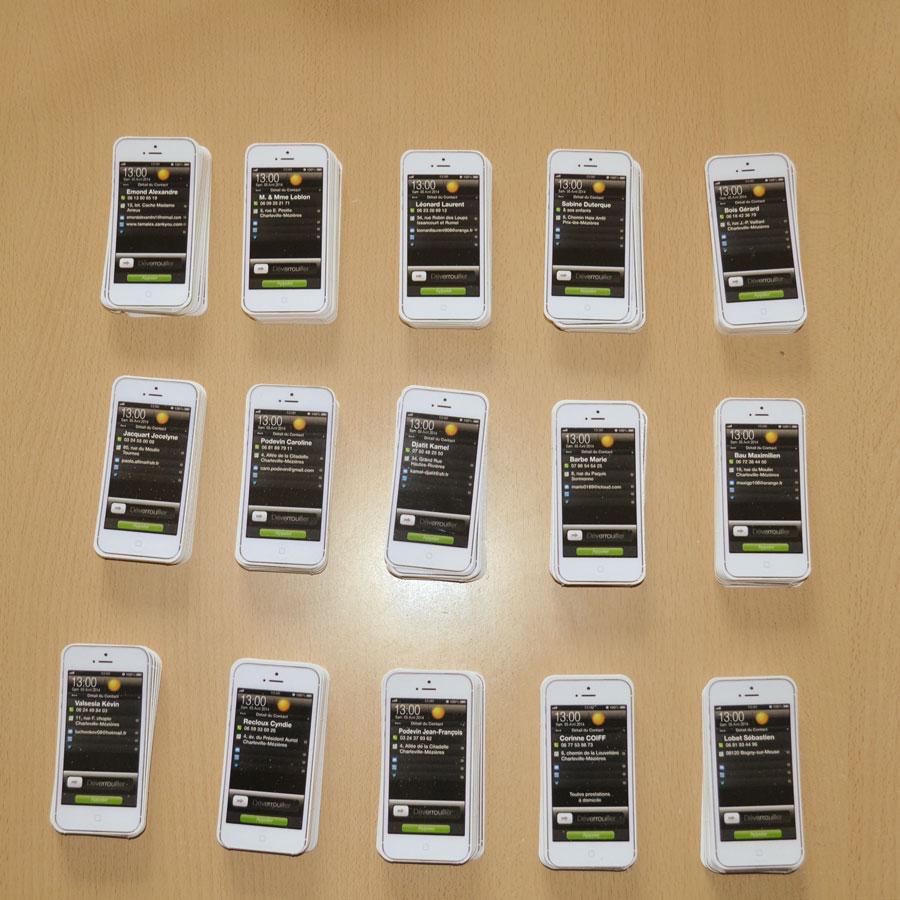 cartes de visite forme téléphone