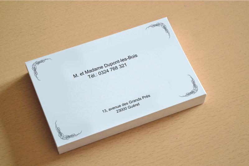 exemple de carte de visite familiale et personnelle pour particulier