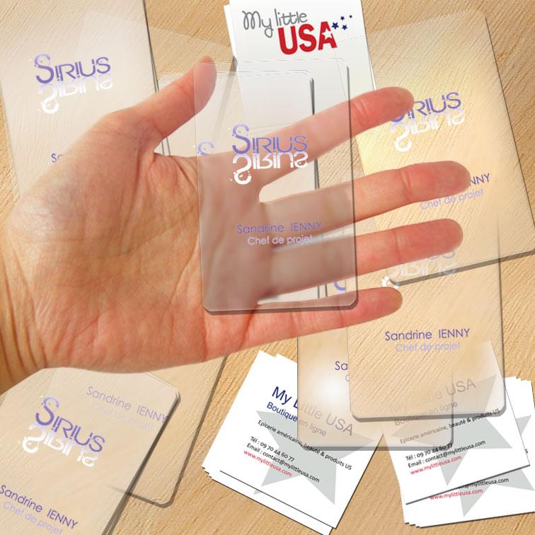 Cartes De Visite Transparente En PVC