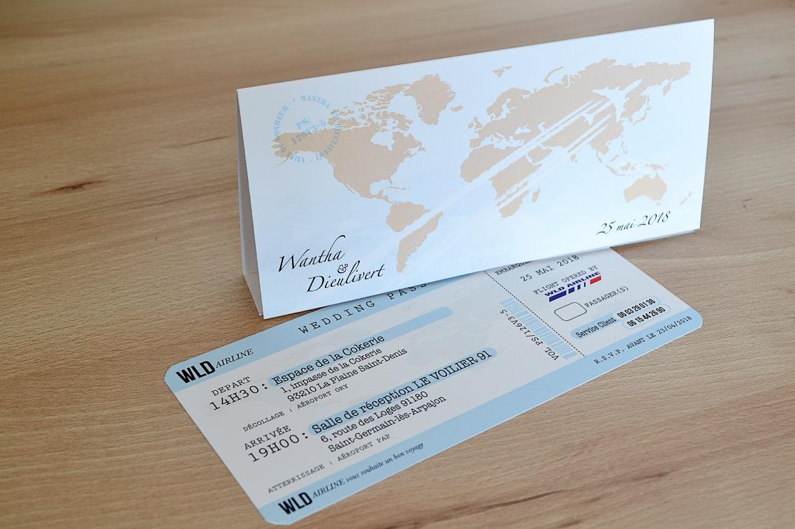 faire-part Mariage pas cher avec carte d'embarquement un passeport pour le mariage en voyage à 2
